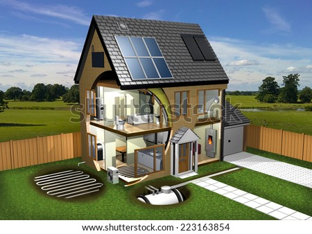 Energy Efficient House, Garden and Background left - stock photo