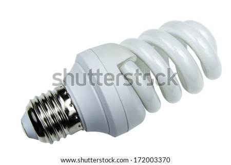 energy efficient light bulb isolated on white background with clipping path - stock photo