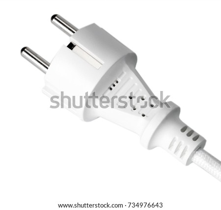 Energy electric plug cable isolated on white background