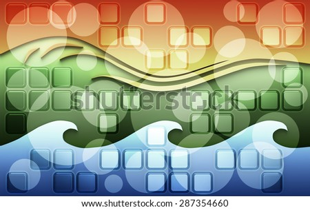 Energy elements colorful background with square ornament, flame shapes, green ground and blue water waves - stock photo