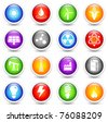 Energy Icon on Reflective Button Collection Original Illustration - stock vector