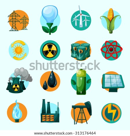 Energy icons set with lightbulb petrol gasoline solar battery isolated  illustration - stock photo