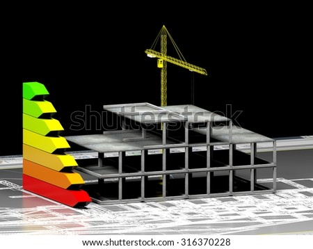 energy performance scale with house under construction and a construction crane (3d render)  - stock photo