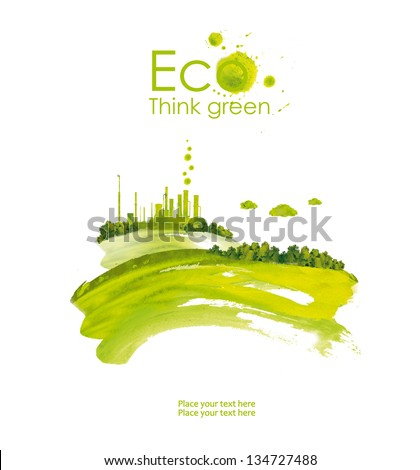 Energy plug.Illustration environmentally friendly planet. Green socket, plug, grass  and splash of paint,from watercolor stains,isolated on a white background. Think Green. Ecology Concept.