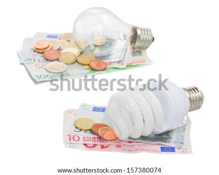 energy saving and normal  lamp bulbs on euro   isolatd on white
