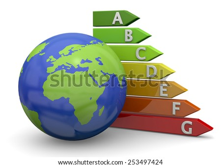 Energy Saving and world on white background - stock photo