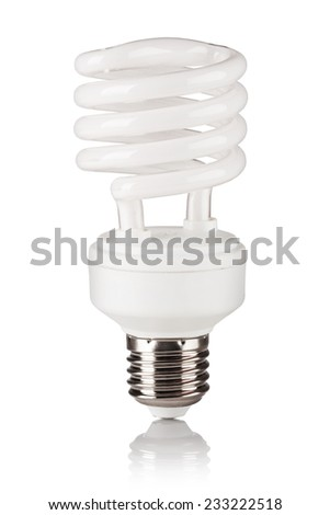Energy saving fluorescent light bulb isolated on a white bakground - stock photo
