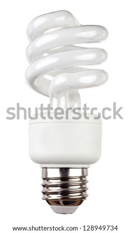 Energy saving fluorescent light bulb isolated on white - stock photo