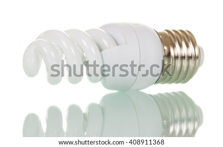 Energy saving fluorescent light bulb isolated on white background. - stock photo