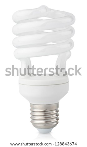Energy saving fluorescent light bulb isolated on white with clipping path - stock photo