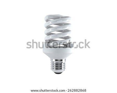 Energy saving fluorescent lightbulb on a white bakground  - stock photo