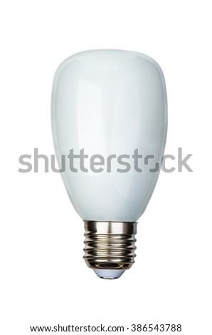 Energy saving fluorescent or LED led lightbulb with e27 (ES) base isolated on white background - stock photo