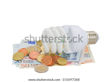 energy saving lamp bulb on euro money  isolatd on white
