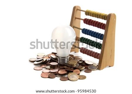 Energy saving lamp on a white background - stock photo