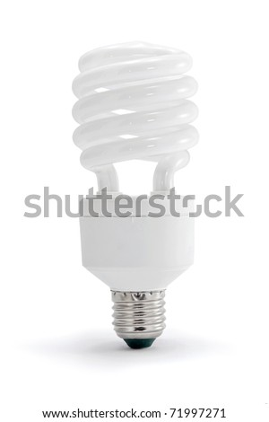 Energy saving lamp on white background. - stock photo