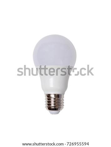 energy saving led bulb E27 closeup isolated on white background
