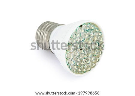 Energy saving LED light bulb E27. Isolated on white background with clipping path. - stock photo