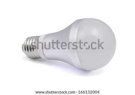 Energy saving LED light bulb isolated on white - stock photo