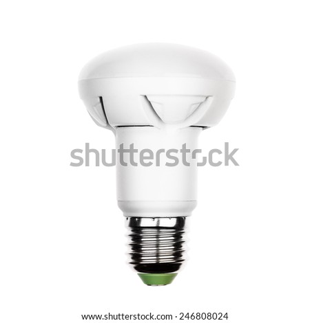 Energy saving LED light bulb (lamp) with e27 socket isolated on a white background - stock photo