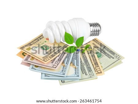 Energy saving light bulb and money and plant on white - stock photo