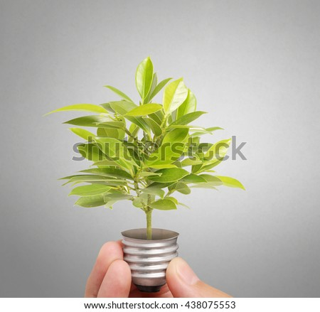 Energy saving light bulb, Creative light bulb idea in the hand