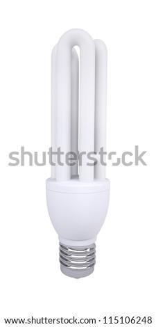Energy saving light bulb. Isolated render on a white background - stock photo