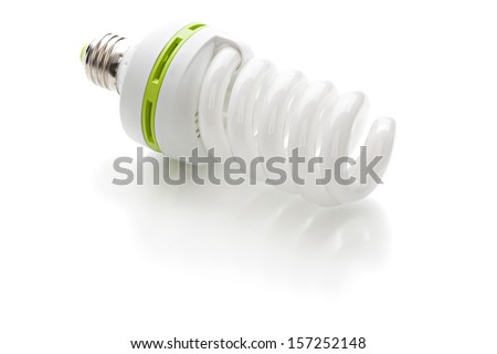 Energy saving light bulb on a white background - stock photo