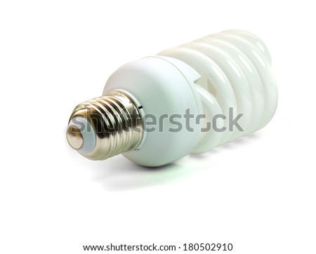 Energy saving light bulb on isolated background - stock photo