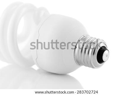 Energy saving lightbulb details isolated on white background - stock photo