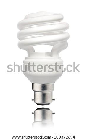 Energy Saving Lightbulb with Bayonet Bottom and Reflection Isolated on White Background. Energy Saving Bulb - stock photo