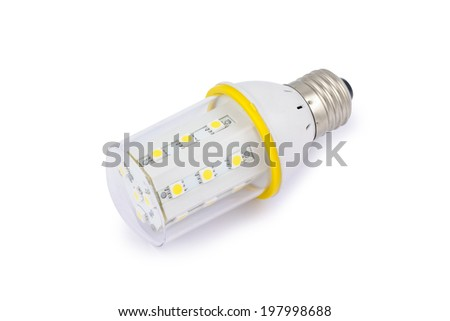 Energy saving SMD LED light bulb E27. Isolated on white background with clipping path. - stock photo
