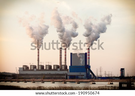 Energy. Smoke from chimney of power plant or station. Industrial landscape. - stock photo