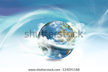 Energy Surrounding Earth with Law of Attraction - stock photo