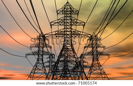 Energy towers on an  electric sky background. 3D rendered image. - stock photo