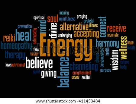 Energy, word cloud concept on black background.