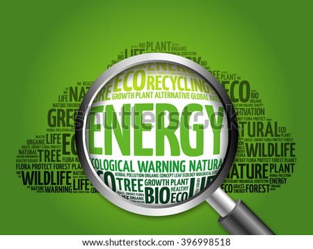 Energy word cloud with magnifying glass, ecology concept - stock photo
