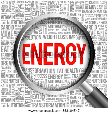ENERGY word cloud with magnifying glass, health concept