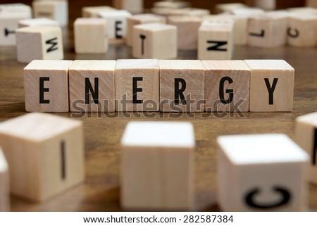 energy word written on wood block - stock photo