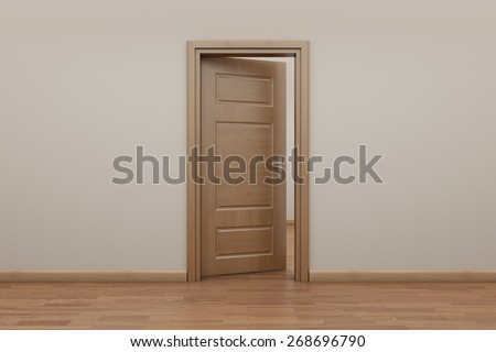 Enfilade, open door to outside. Stop motion animation.   - stock photo