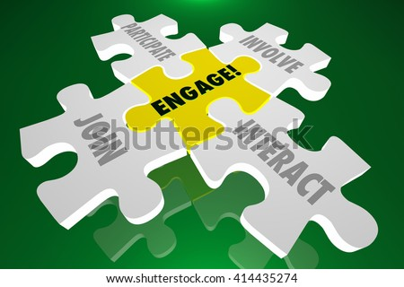Engage Join Participate Involve Interact Puzzle Pieces 3d Illustration Words - stock photo