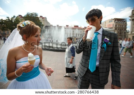 engagement couple is having lanch - stock photo