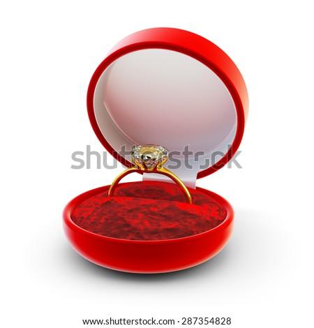Engagement diamond ring concept, gold wedding ring in red velvet gift box isolated on white background - stock photo
