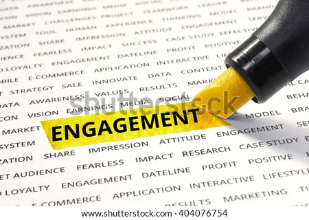 Engagement message highlighted with marker on paper of other related words. For direction of business   marketing  strategy success concept - stock photo