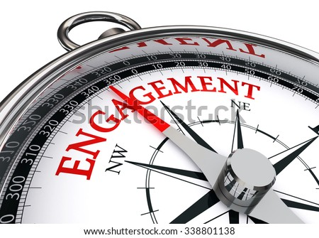 Engagement red word on concept compass, isolated on white background