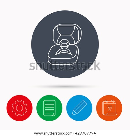 Engagement ring icon. Jewellery box sign. Calendar, cogwheel, document file and pencil icons. - stock photo