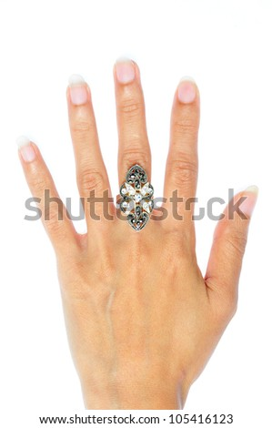 Engagement Ring in hand isolate on white background