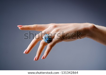 Engagement ring on the hand - stock photo