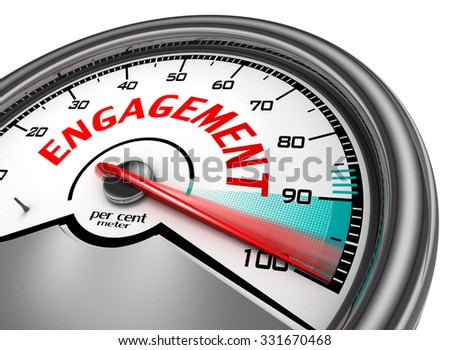 Engagement to hundred per cent conceptual meter, isolated on white background - stock photo