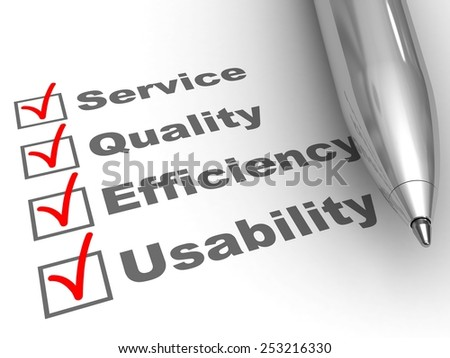 Engagements evaluation. Pen on evaluation form, with Service, Quality, Efficiency, Usability checked. - stock photo