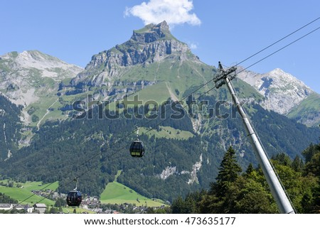 Engelberg, Switzerland - 8 august 2016: The cableway over Engelberg on the Swiss alps